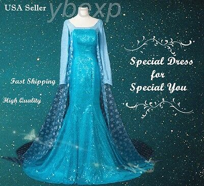 Frozen Adult Queen Princess Elsa Evening Dress Costume Cosplay Party Dress