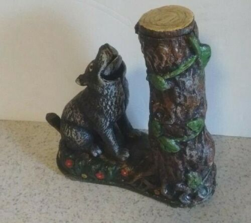 WOLF SQUIRREL BANK HUBLEY CAST IRON COLLECTIBLE