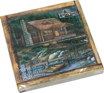 Cabin Scene Napkins Package of 20 Paper 3 Ply Boat Dock New Rivers Edge  for sale  Marysville