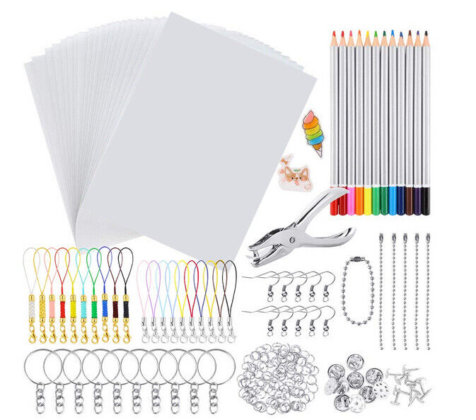 198PCS Shrink Dinks Plastic Kit Shrinky Art Paper Hole Punch DIY Keychains Set