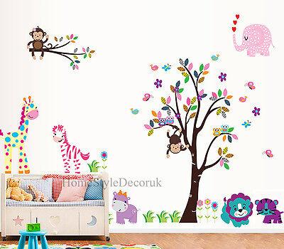 Jungle Zoo Animals Tree Wall Stickers Kids Nursery Decals Girls Bedroom Decor