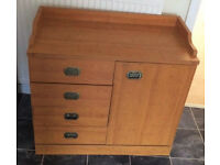 Wooden Cabinet with 2 shelves and 4 drawers