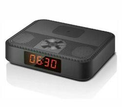 Bluetooth Speakers Portable Wireless, Alarm Clock w FM Radio, Wireless Charger