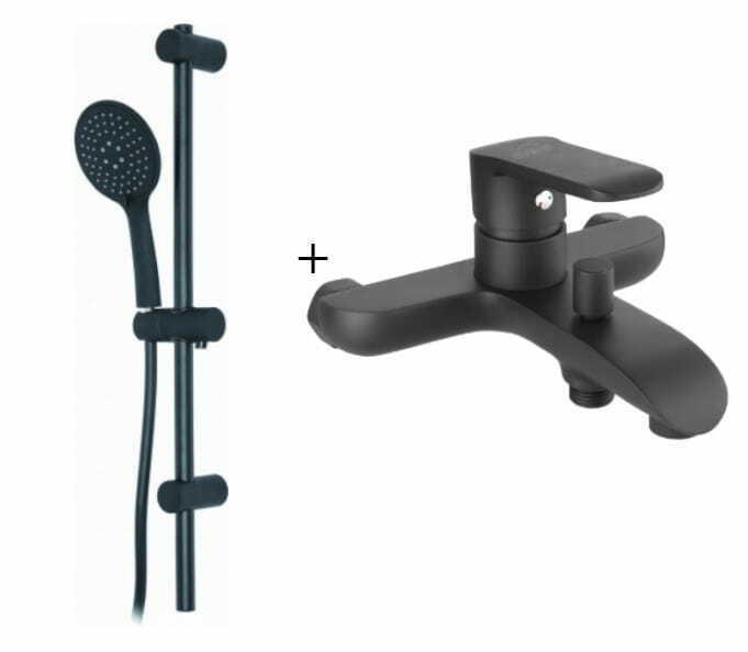 Wannearmatur Badewannearmatur Einhebelmischer schwarz matt SIROS aufputz