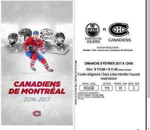 Billet Canadiens vs Oilers 5 février 2017