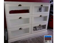 Solid off white/cream chest of drawers with display front sections