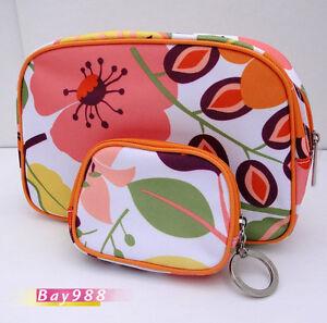 Clinique-Cosmetic-Orange-Floral-Canvas-Purse-Plus-Cute-Bag-Set