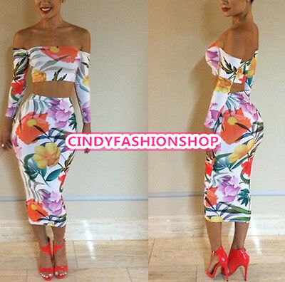 Sexy Off Shoulder Long Sleeve Flower Crop Top Bodycon Dress Two Piece outfits