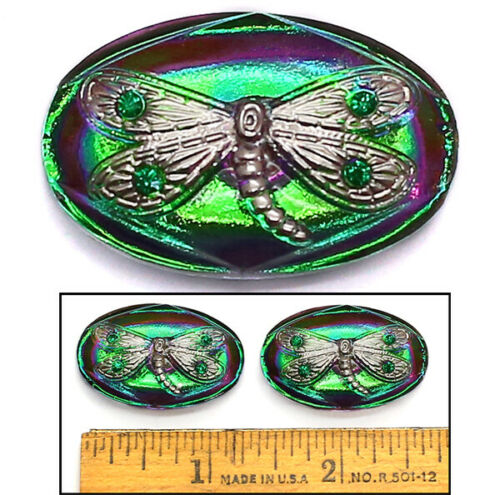 32mm Vintage Czech Glass Purple/Green AB DRAGONFLY Rhinestones OVAL Buttons 2pc