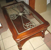 SOLID WOOD Coffee Table w/Glass/Metal top & carvings,deliv po$$