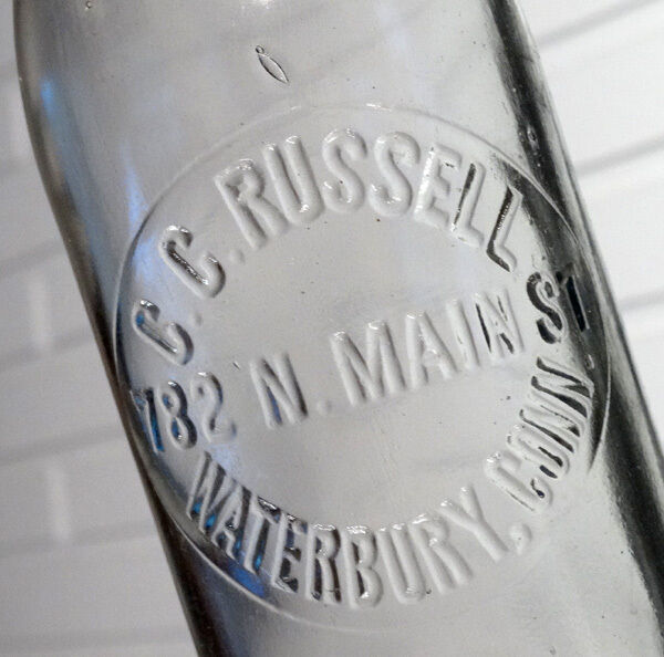 ANTIQUE Vintage C C RUSSELL Glass Blob-Top SODA or BEER Bottle / WATERBURY CT