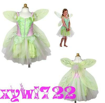New Tinker Bell Fairy Kids GirlS Princess Party Costume Dress Wings Set 2-8Year