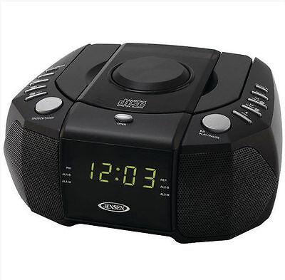 Jensen AM FM CD Clock Radio Dual Alarm Auxiliary Audio Input Black Ships from US