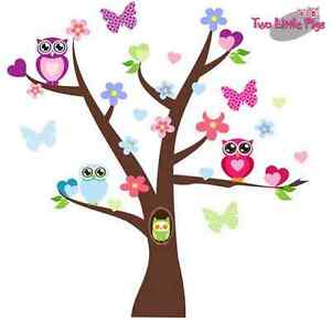 Removable Wall Decals/Stickers Love Heart Tree Owls Baby Girl Toddler