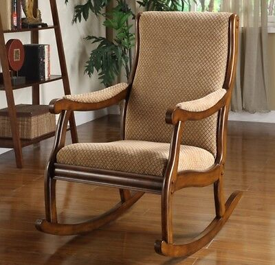 Wood Rocking Chair Wooden Rocker Sturdy Chairs Nursery Den Living Room Furniture