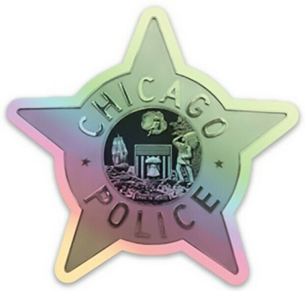 """CHICAGO POLICE STAR 3"""" DECAL STICKER - Headquarters Star Holographic"""