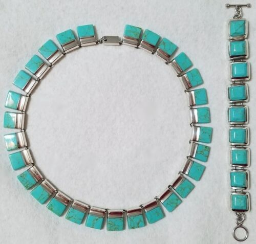 NEW TAXCO MEXICO CAMPITOS TURQUOISE STERLING SILVER .925 NECKLACE BRACELET SET