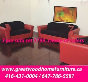 CANADIAN MADE 3 PIECE SOFA SET..$799..COLORS AVAIALBLE