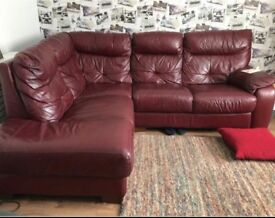 Corner maroon leather sofa can deliver
