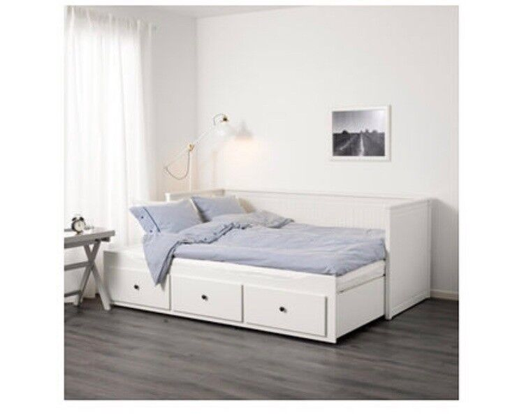 Details About White 3 Piece Storage Drawers Twin Bed Box: SOLD Ikea Day Bed / White / Single Or Pull Out To Double
