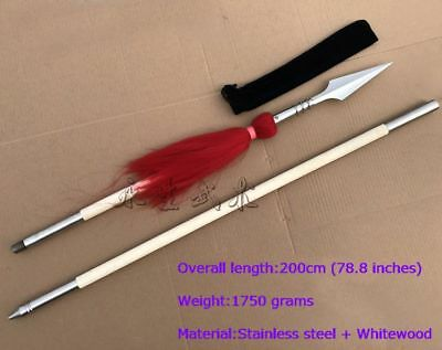 Handmade Chinese Wushu Stainless Steel Spear Kung Fu Sword 红缨枪 W/ Whitewood Rod