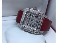 Cartier diamond fully iced out red straps not Audemars piguet rolex