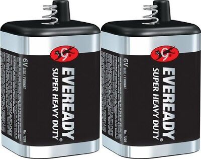 2 Eveready 1209 Zinc-Carbon Super Heavy Duty Lantern 6 Volts Batteries - Carbon Lantern