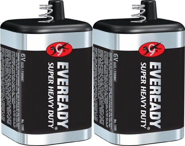 2 Eveready 1209 Zinc-Carbon Super Heavy Duty Lantern 6 Volts
