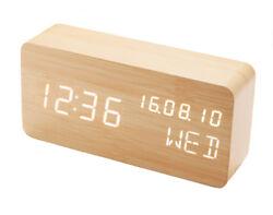 Wood Look Alarm Clock Voice Control Digital Clocks LED Alarm Clocks Desk Clock