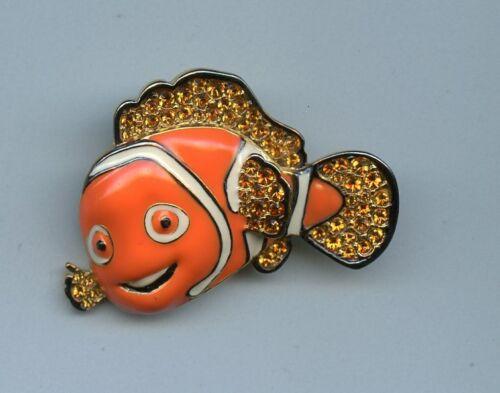Disney Pixar Finding Nemo Clownfish Jeweled Pave Swarovski Jewelry Brooch Pin