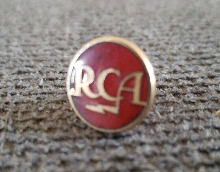 RCA Radio Corporation of American Red Enamel Goldtoned Vintage Collectible Pin!