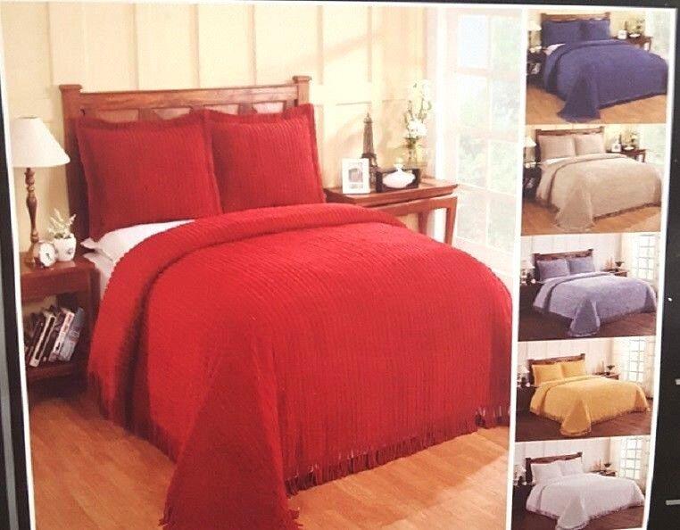 Chenille Bedspread 100% COTTON Soft Elegant CHIC Coverlet Hem 110″ Choose Size Bedding