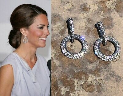 Kate Middleton Round Circle Earrings Diamond Sparkle Given by Princess (Diamond Round Circle Earrings)
