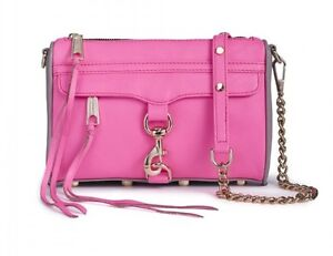 NWT Rebecca Minkoff Neon Pink Gray Mini Mac Crossbody Bag Clutch leather$195