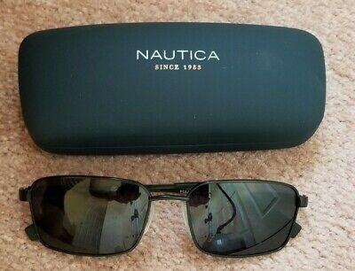 NAUTICA Mens Sunglasses N5124S 005 Matte BLACK 56 17 Polarized GREY HARD CASE