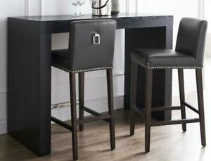 6 - GREY Leather Bar Height Stools on Clearance SALE (NEW in Box, limited quantity)