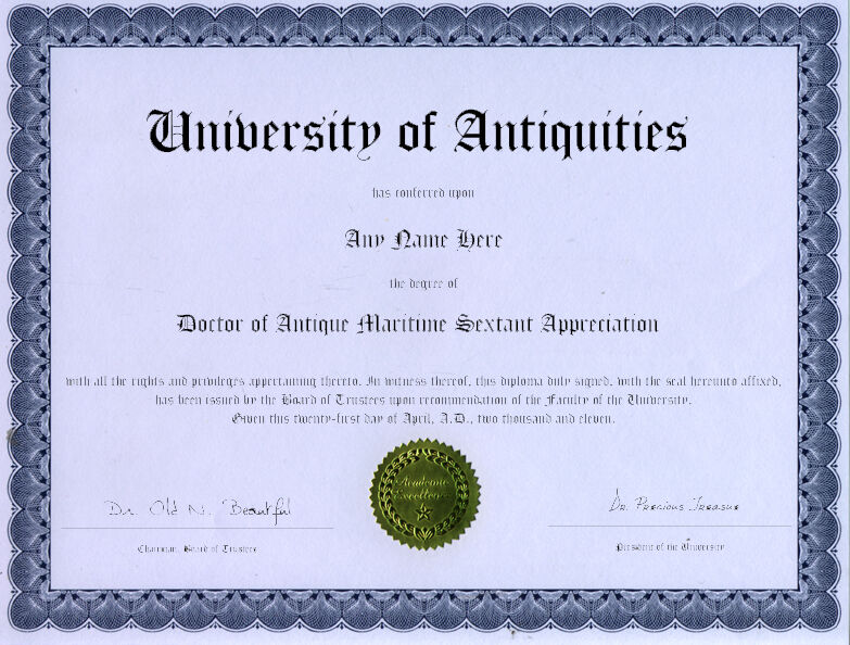 Секстанты Doctor Antique Maritime Sextant Appreciation Diploma