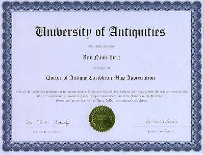 Doctor Antique Caribbean Map Appreciation Diploma