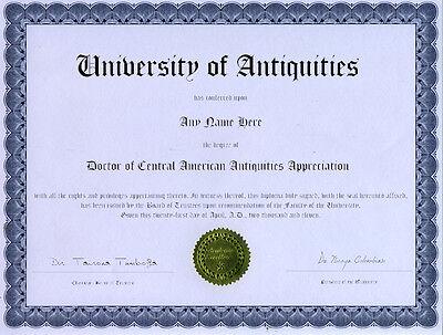 Doctor Antique Central American Map Appreciate Diploma