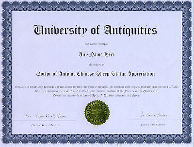 Doctor Antique Sheep Statue Appreciation Diploma