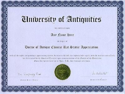 Doctor Antique Rat Statue Appreciation Novelty Diploma