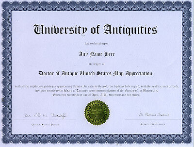 Doctor Antique North American Map Appreciation Diploma