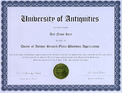 Doctor Antique Stained Glass Appreciation Diploma