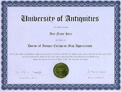 Doctor Antique European Map Appreciation Diploma