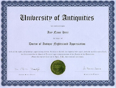 Doctor Antique Nightstand Appreciation Novelty Diploma