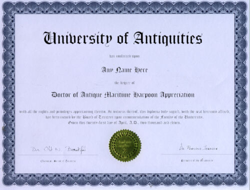 Doctor Antique Maritime Harpoon Appreciation Diploma