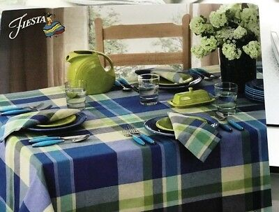 Fiesta Tablecoth Placemat Soiree Plaid Ocean & Scarlet In/Outdoor NEW - Fiesta Tablecloth
