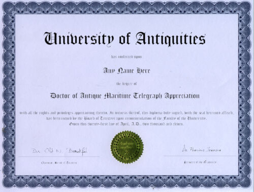 Doctor Antique Maritime Telegraph Appreciation Diploma