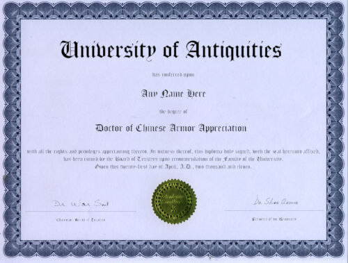 Doctor Chinese Armor Diploma Novelty Diploma