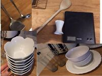 Kitchen Utensils, Bowls, Flutes/Glasses, Weighing Scales and Spoon